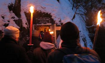 Einstieg zur Winterwanderung in der Partnachklamm