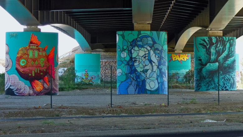 Street Art unter der Autoroute A 9 in Montpellier